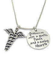 RELIGIOUS INSPIRATION MESSAGE PENDANT NECKLACE - BLESS ME WITH A GENTLE TOUCH AND CARING HEART