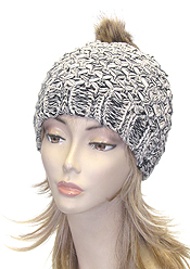 FUR TOP CROCHET KNIT WINTER HAT