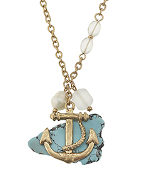 TURQUOISE AND FROST GLASS ANCHOR PENDANT NECKLACE