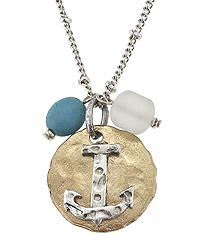 HANDMADE ANCHOR DISK PENDANT NECKLACE