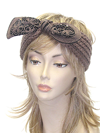 SEQUIN CHUNKY BOW KNIT HEADWRAP