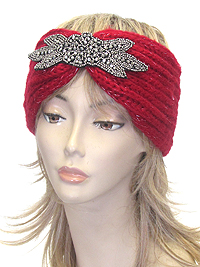 MULTI BEAD FLOWER CROCHET KNIT HEADWRAP