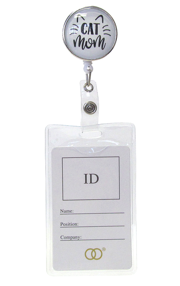 CLIP BACK RETRACTABLE REEL CABOCHON ID HOLDER - CAT MOM