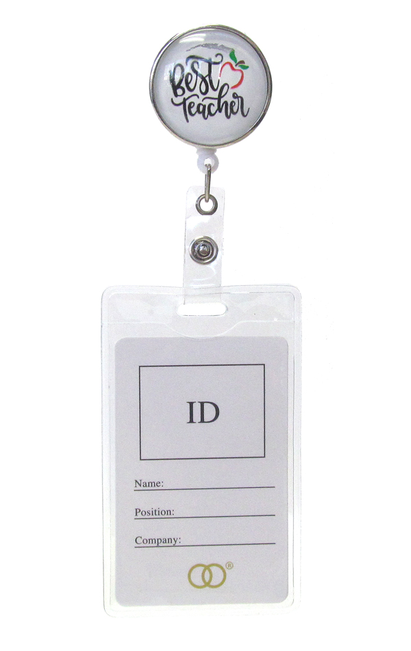 CLIP BACK RETRACTABLE REEL CABOCHON ID HOLDER - BEST TEACHER
