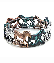 CHICO STYLE VINTAGE METAL STRETCH BRACELET - HORSE THEME