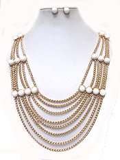 MULTI LAYER ROUND STONE ACCENT HANGING CHAIN NECKLACE SET