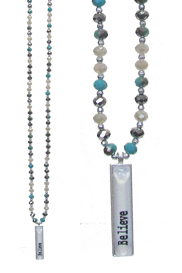 CABOCHON PENDANT AND MULTI GLASS BEAD LONG NECKLACE - BELIEVE