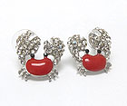 CRYSTAL AND EPOXY DECO SEA LIFE THEME CRAB EARRING