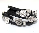 CRYSTAL DECO FRIENDSHIP THEME LEATHERETTE WRAP BRACELET