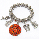 CRYSTAL DECO BASKETBALL CHEERLEADER CHARM STRETCH BRACELET
