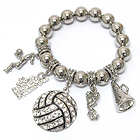 CRYSTAL DECO VOLLEYBALL CHEERLEADER CHARM STRETCH BRACELET