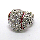 CRYSTAL DECO BASEBALL STRETCH RING