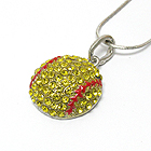 CRYSTAL DECO SOFTBALL PENDANT NECKLACE