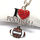 CRYSTAL DECO I LOVE FOOTBALL NECKLACE