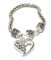 TEXTURED METAL HEART WITH METAL CHAIN BRACELET