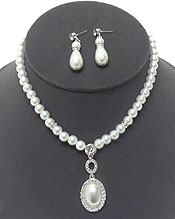 PEARL WITH SINGLE PEARL PENDANT NECKLACE SET