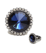 CRYSTAL AND FACET GLASS STRETCH RING