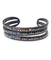 RELIGIOUS INSPIRATION MESSAGE LAYER METAL BANGLE BRACELET - SERENITY PRAYER