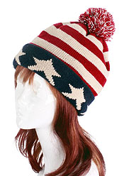 AMERICAN FLAG HAND KNIT WINTER HAT