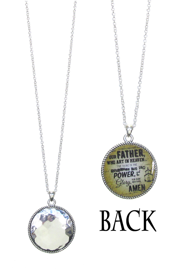 RELIGIOUS INSPIRATION DOUBLE SIDED PENDANT NECKLACE
