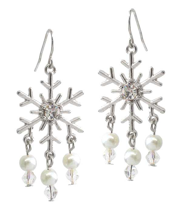 SNOWFLAKE AND PEARL DROP EARRING