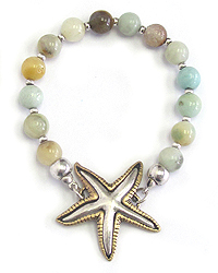 STARFISH AND BALL LINK STRETCH BRACELET