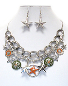 Wholesale Jewelry - WESTERN THEME CRYSTAL DECO MULTI STAR AND CHAIN NECKLACE EARRING SET