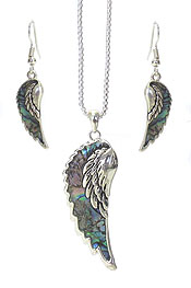 ABALONE ANGEL WING PENDANT NECKLACE SET