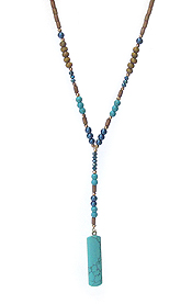 SEMI PRECIOUS STONE BAR DROP AND MIXED BEAD Y SHAPE LONG NECKLACE