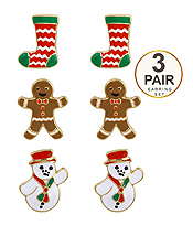 CHRISTMAS THEME 3 PAIR EARRING SET - SOCKS SNOW MAN AND COOKIE