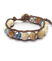 FACET GLASS AND MULTI COLOR STONE BALL CORD LINK BRACELET