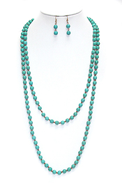 MULTI TURQUOISE BALL LINK LONG NECKLACE SET