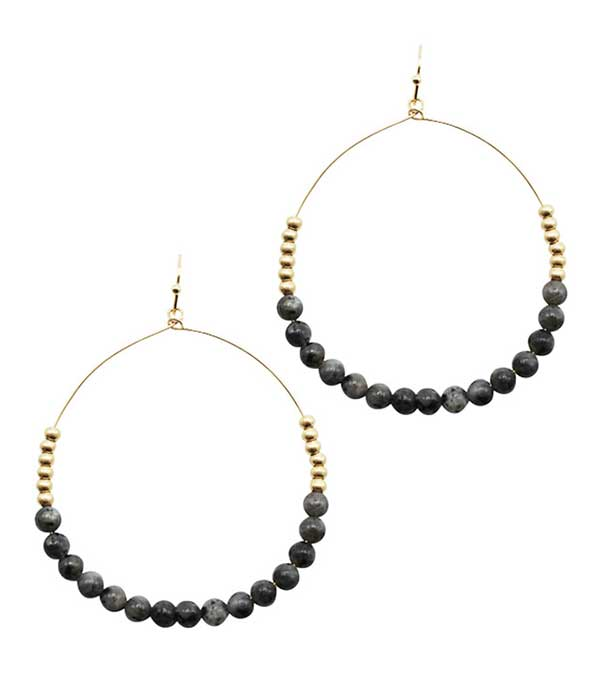 SEMI PRECIOUS BALL BEAD WIRE HOOP DROP EARRING