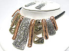 ANTIQUE LOOK ENAMEL METAL STIVK DANGLE BRADIED CORD NECKLACE AND EARRING SET