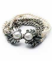 BOUTIQUE STYLE MULTI ROW CRYSTAL PEARL METAL CHAIN BRACELET