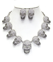 CHUNKY CRYSTAL SKULL LINK STATEMENT NECKLACE SET