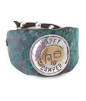 TEXTURED CHUNKY METAL AND SUEDE PULL TIE BRACELET - HAPPY CAMPER