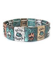 VINTAGE METAL STRETCH BRACELET - HAPPY CAMPER