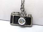 BURNISH METAL CRYSTAL STUD CAMERA PENDANT LONG CHAIN NECKLACE
