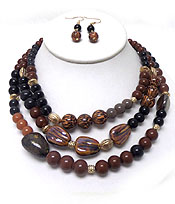 MULTI BALL AND STONE BEADS MIX THREE LAYER NECKLACE SET