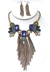 MULTI FACET GLASS AND TASSEL DROP NECKLACE SET