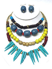 Wholesale Jewelry - FOUR LAYER MULTI BEADS NECKLACE SET