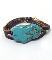 WRAP AROUND NETURAL STONE AND BEADS BRACELET