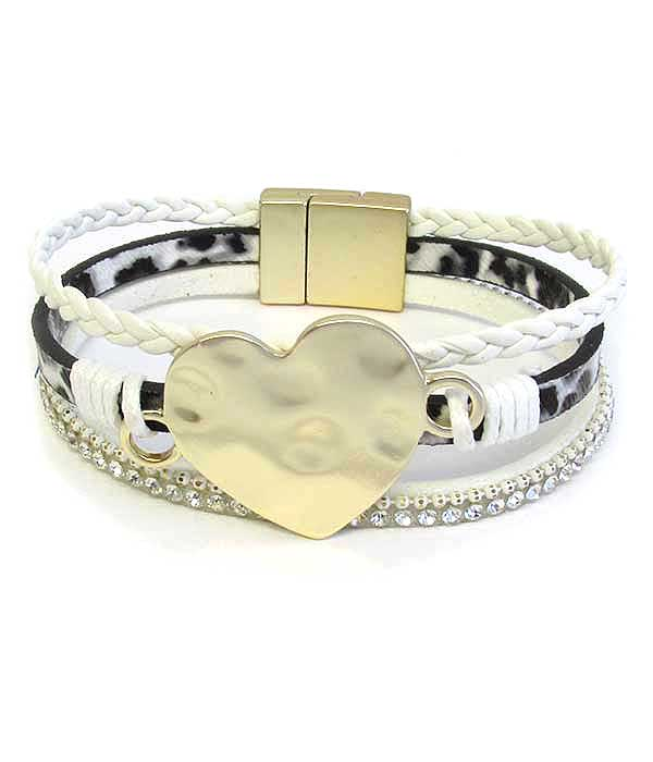 HAMMERED METAL HEART MAGNETIC BRACELET