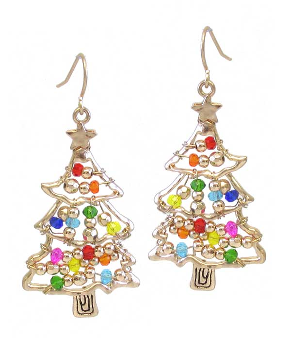 CHRISTMAS THEME MULTI SEEDBEAD CHRISTMAS TREE EARRING