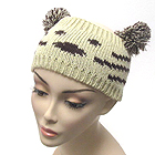 ANIMAL KNIT HEAD WRAP WITH POMPOM EARS