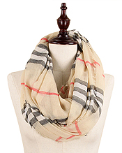 PLAID PATTERN 100% POLYESTER INFINITY SCARF