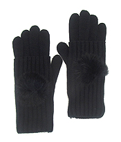 FUR BALL KNIT DOUBLE LAYER GLOVES