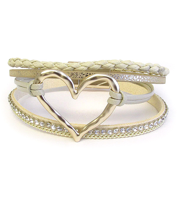 HEART AND MULTI LEATHERETTE CHAIN MAGNETIC BRACELET