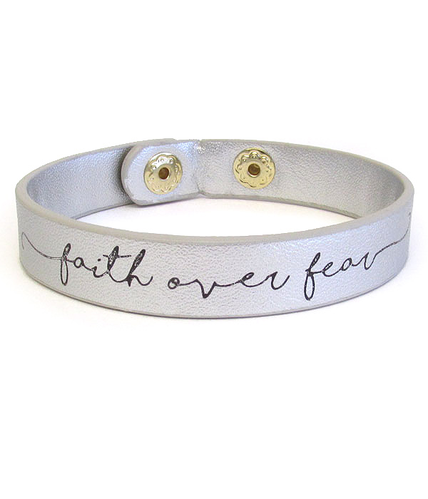 RELIGIOUS THEME LEATHERETTE BRACELET - FAITH OVER FEAR